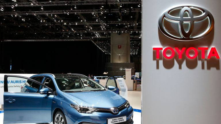 A Toyota Auris Hybrid Touring Sports car is pictured ahead of the 85th International Motor Show in Geneva, March 2, 2015