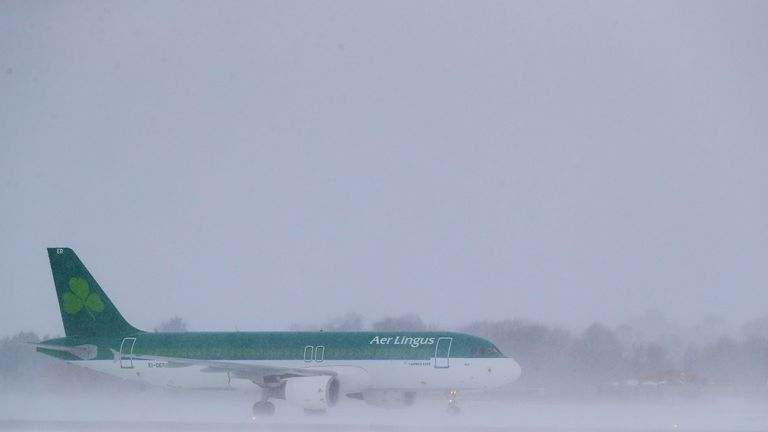 An Aer Lingus plane after landing at Dublin airport