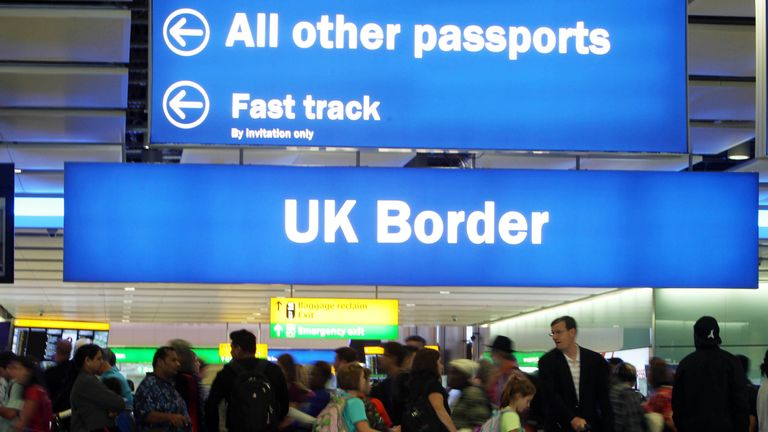 UK Border at Terminal 2 of Heathrow Airport