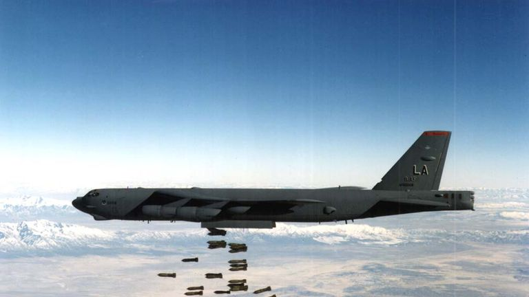 395461 03: (FILE PHOTO) A U.S. Airforce B-52 Stratofortress heavy bomber drops bombs in this undated file photo. The United States and Britain launched powerful air and missile strikes against command bases, airports and training camps across Afghanistan October 7, 2001 using 50 cruise missiles and dozens of aircraft. (Photo by U.S. Airforce/Getty Images)