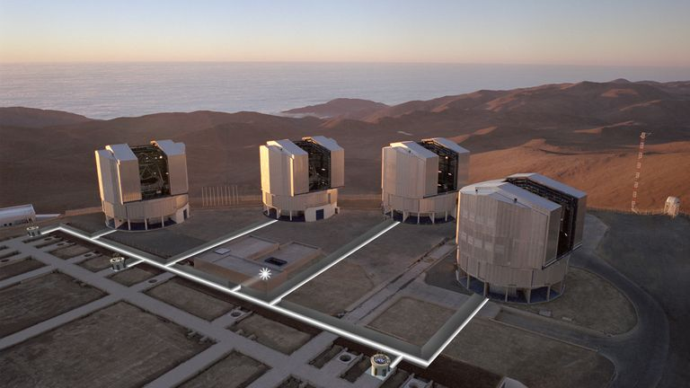 The VLT in the Atacama, overlooking the Pacific Ocean. Pic: ESO