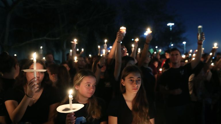 A vigil for the victims of the Florida school shooting