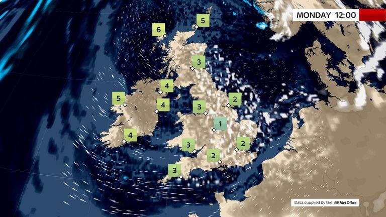 Monday's weather forecast