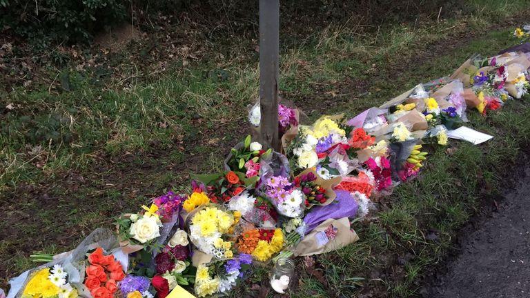 Flowers left in Barns Green, where Will Hallett lived