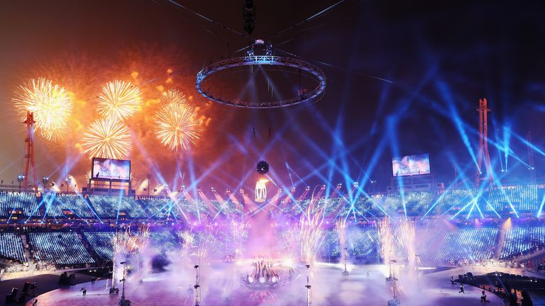 Fireworks light up the sky during the opening ceremony of the Winter Olympics