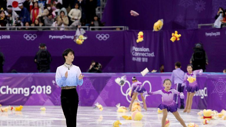 Yuzuru Hanyu during the Men's Single Skating Short Program at Gangneung Ice Arena on February 16, 2018 in Gangneung, South Korea.