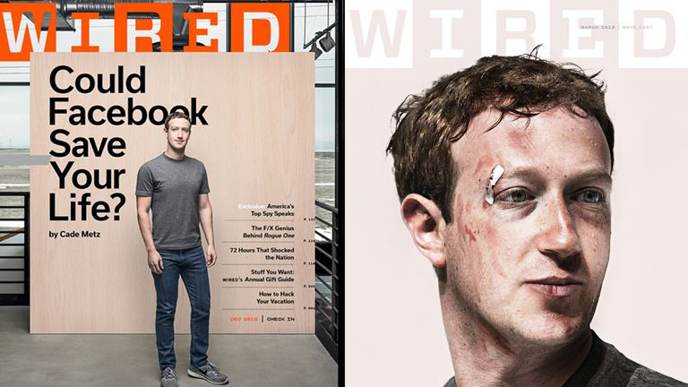The front covers of Wired magazine, one year apart