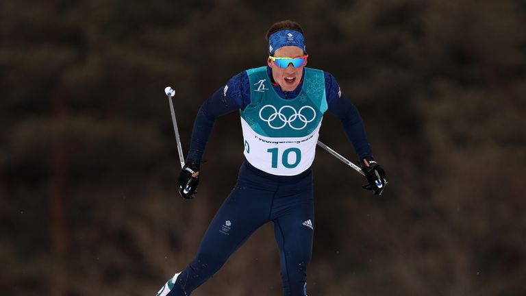 PYEONGCHANG-GUN, SOUTH KOREA - FEBRUARY 11:  Andrew Musgrave of Great Britain competes during the Men's 15km and 15km Skiathlon Cross-Country Skiing on day