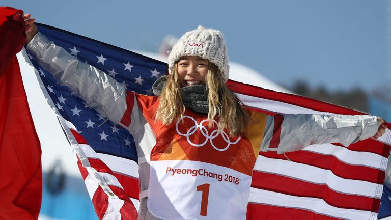 Chloe Kim USA celebrates winning Snowboard Halfpipe gold on day four of the PyeongChang 2018 Winter Olympic Games at Phoenix Snow Park on Fe 13
