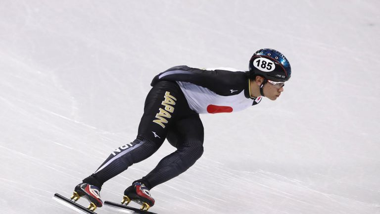 Japan's Kei Saito trains during Short Track Speed Skating practice ahead of PyeongChang 2018 Winter Olympics