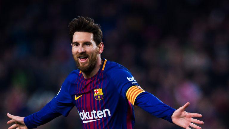 Lionel Messi of FC Barcelona celebrates after scoring his team s third goal  during the La Liga 082873cc35fef