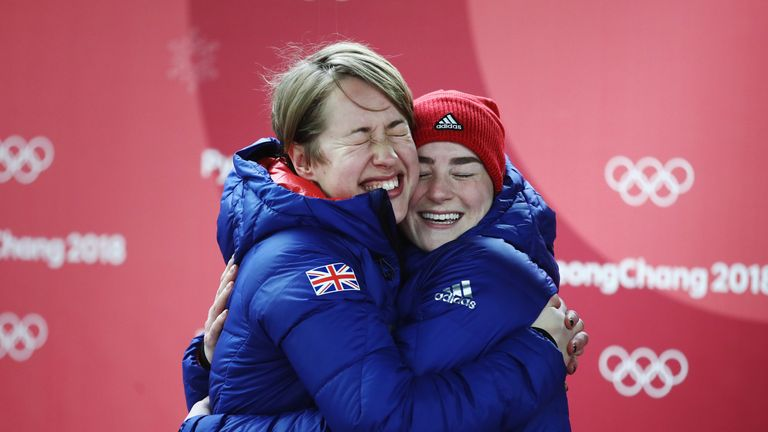 PYEONGCHANG-GUN, SOUTH KOREA - FEBRUARY 17:  (L-R) Gold medal winner Lizzy Yarnold of Great Britain and bronze medalist Laura Deas of Great Britain celebra