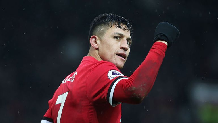 Alexis Sanchez celebrates scoring Manchester United's second goal