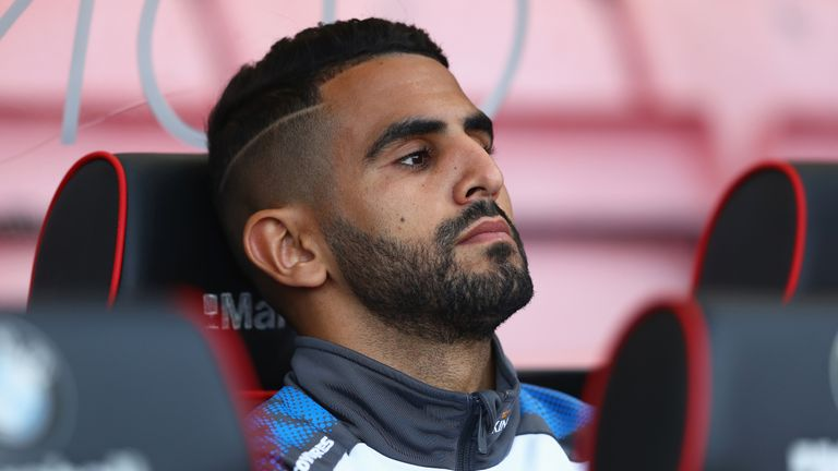 Riyad Mahrez looks on from the substitutes bench during the Premier League match between Bournemouth and Leicester City on 30 September, 2017