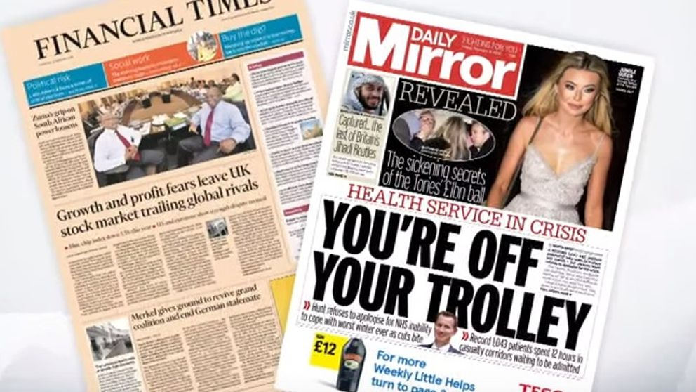 Friday's national front pages