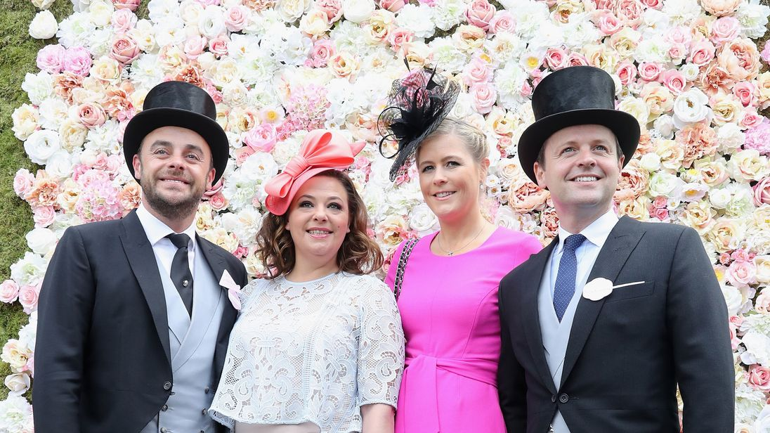 Declan Donnelly (R) and wife Ali (CR) are expecting their first child