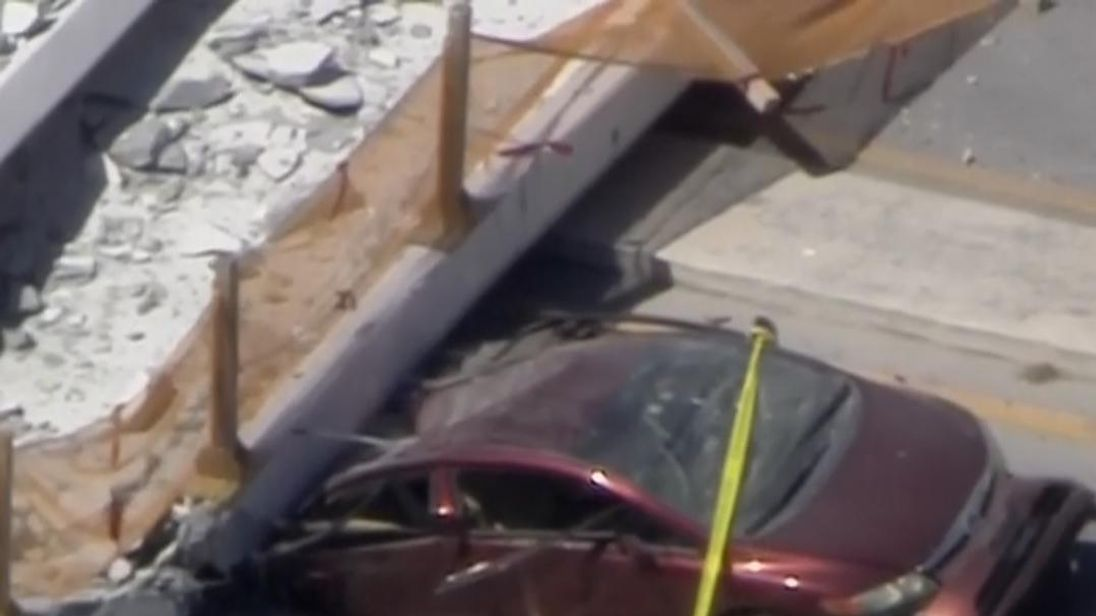 A pedestrian bridge stretching across a street on the Florida International University campus in Miami collapsed Thursday afternoon, killing multiple people, according to the Florida Highway Patrol.