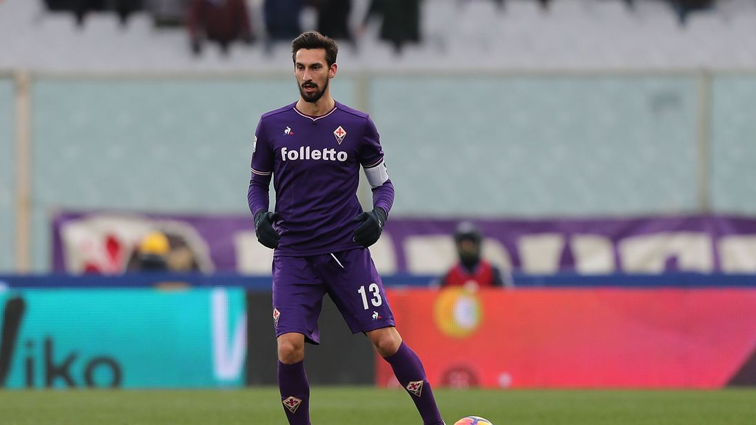 Davide Astori of ACF Fiorentina during the serie A match with AC Chievo Verona at Stadio Artemio Franchi on February 25, 2018