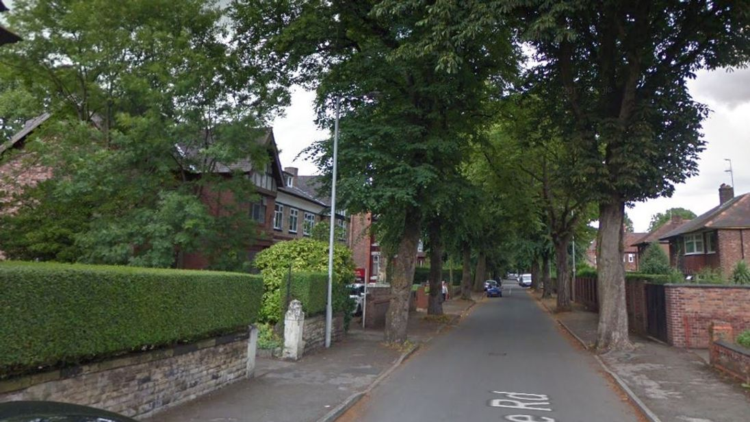 The police officer was slashed with a sword in Demesne Road, Whalley Range, Manchester. Pic: Google Street View
