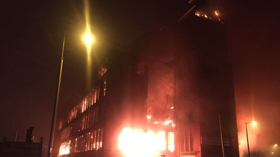 Large fire engulfs mill in Greater Manchester