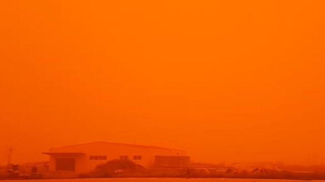 sahara desert dust cloud blankets greece in orange haze