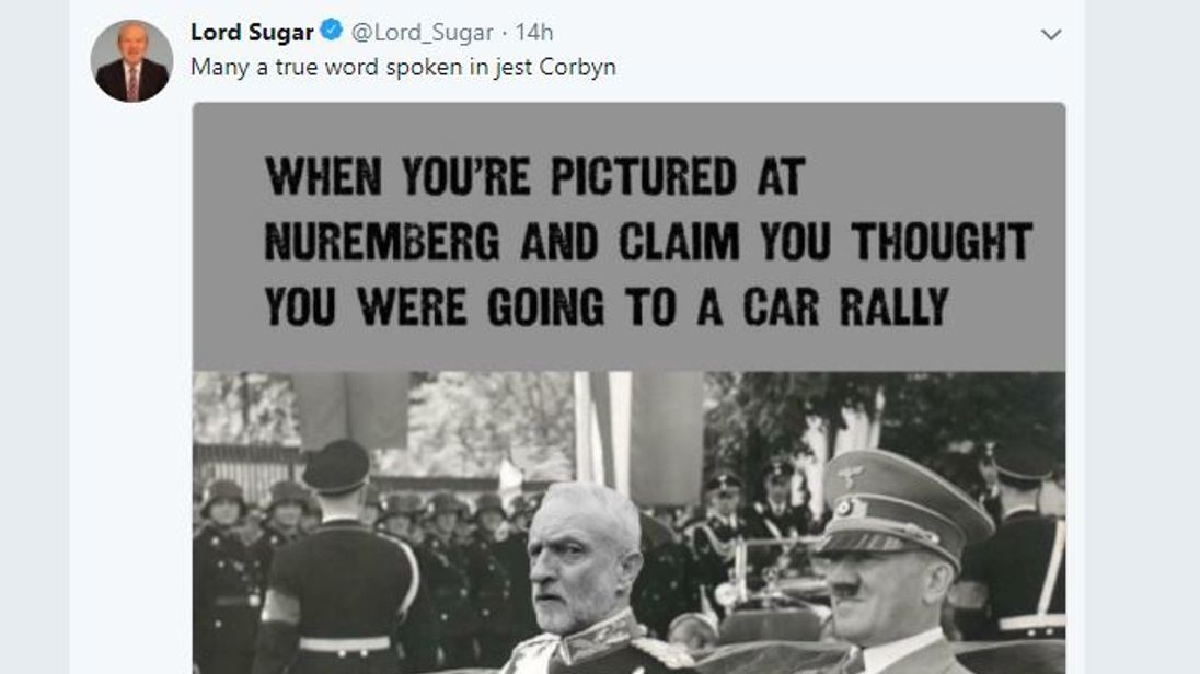 Former Labour peer and businessman sir Alan Sugar has sparked a Twitter row after he posted a picture showing Jeremy Corbyn in a car next to Hitler.