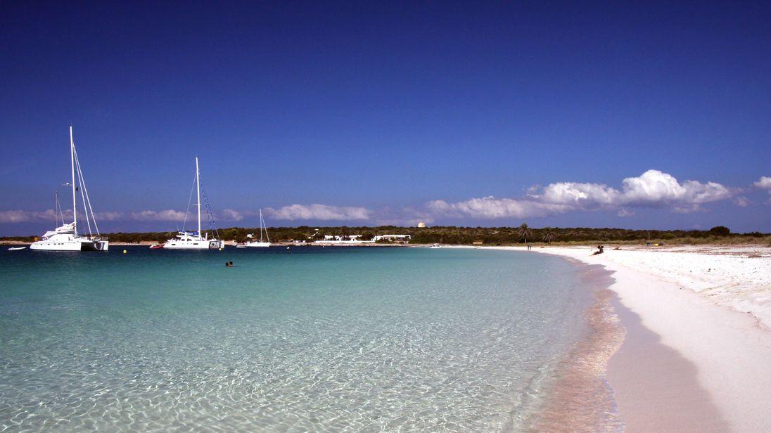 S'Espalmador lies between Formentera and Ibiza in the Balearics