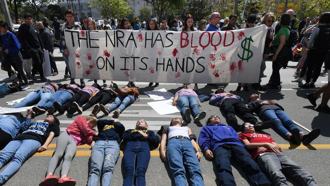 Students from Valley College hold a die in during the Los Angeles rally