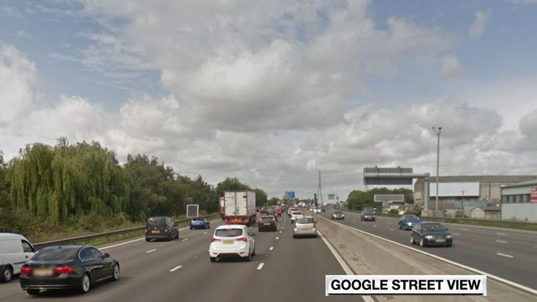 M25 at Waltham Abbey, Essex. Pic: Google Street View