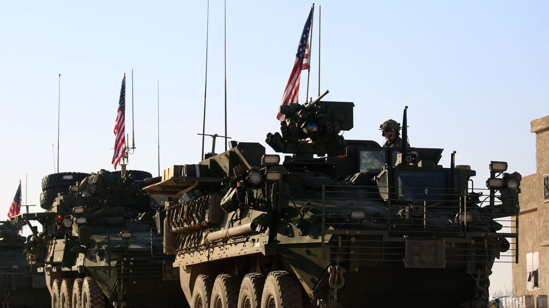 US forces armoured vehicles near Manbij in March