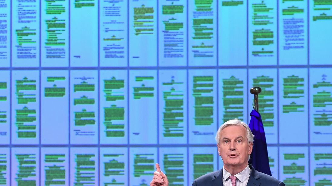 Michel Barnier announcing the Brext transition period