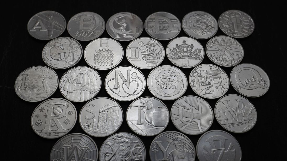 The Royal Mint unveils 26 brand new 10 pence designs that will appear across the country as part of the 'Great British Coin Hunt'