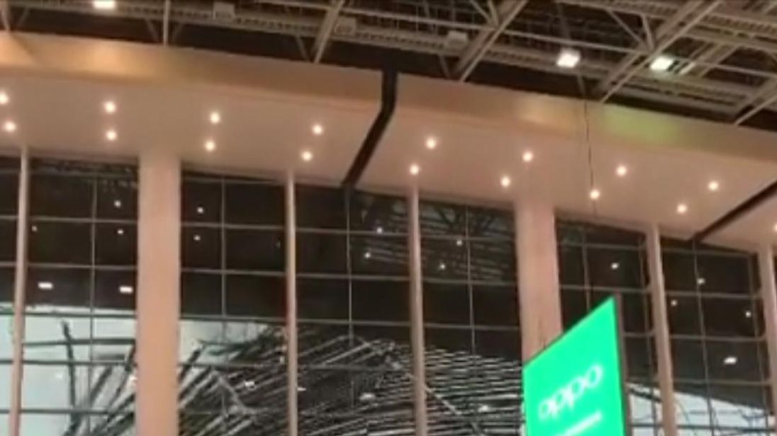 A section of a roof collapsed at Nanchang Changbei International Airport  as storms swept Jiangxi province in southeast China.