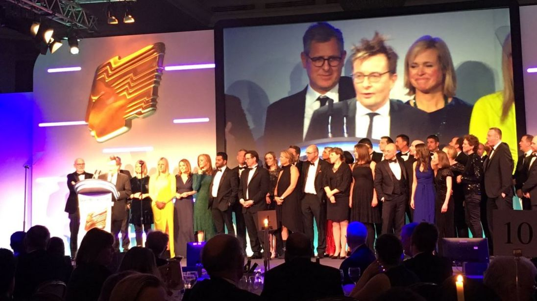 John Ryley accepts the RTS News Channel Of The Year award