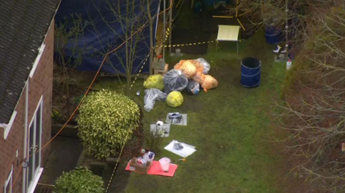 Bags of evidence at the back of Sergei Skripal's house in Salisbury
