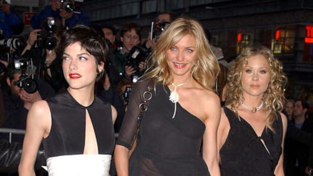 Actresses Selma Blair, Cameron Diaz with Christina Applegate at the premiere of The Sweetest Thing