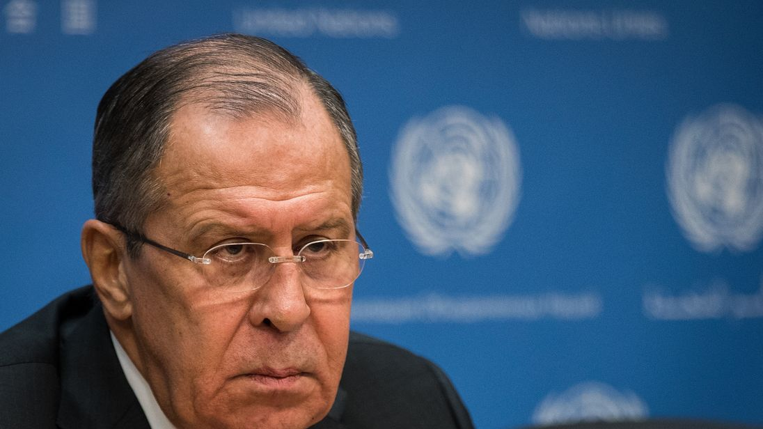 NEW YORK, NY - JANUARY 19: Foreign Minister of Russia Sergey Lavrov speaks during a press conference at United Nations headquarters, January 19, 2018 in New York City. Lavrov stated that the Iran nuclear deal cannot survive if the United States pulls out the agreement. (Photo by Drew Angerer/Getty Images)