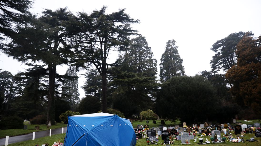 A tent has been placed over the grave of Mr Skripal's wife
