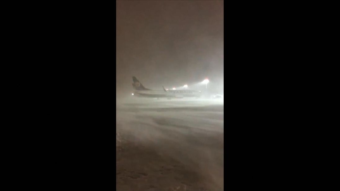 Planes grounded by the weather at Dublin Airport