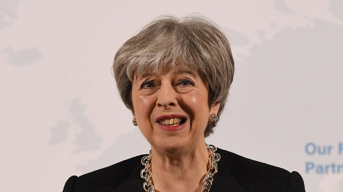 "British Prime Minister Theresa May delivers a speech at Mansion House on March 2, 2018 in London, England. Theresa May sets out five tests for the future deal between the UK and the EU.  She believes a broad and deep free trade agreement will be achievable and the EU Referendum was a vote to ""take control of our borders, laws and money"" ... ""not a vote for a distant relationship with our neighbours""."