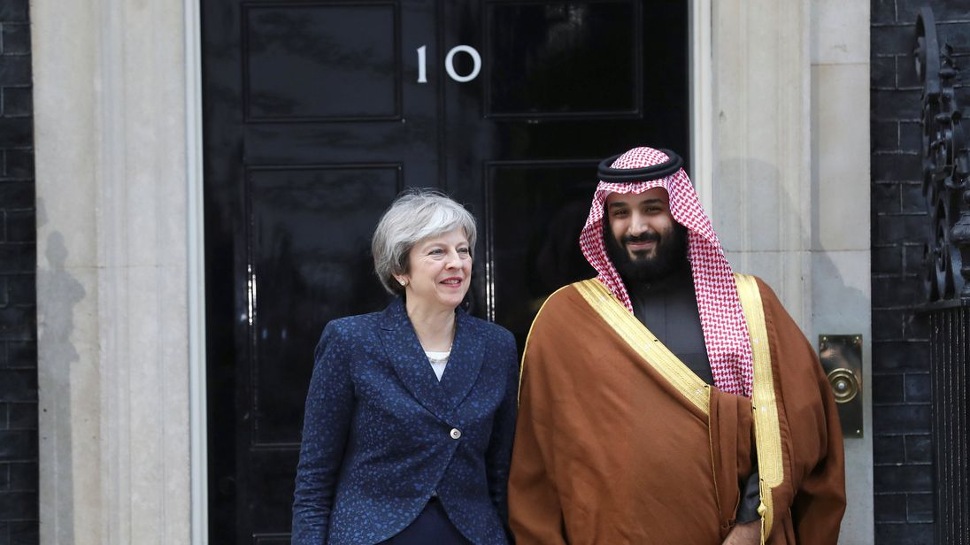 Theresa May greets the Crown Prince of Saudi Arabia Mohammad bin Salman outside 10 Downing Stree