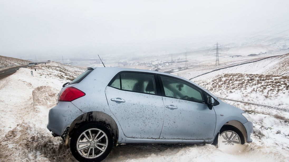 An abandoned car near Blackstone Edge in the Pennines