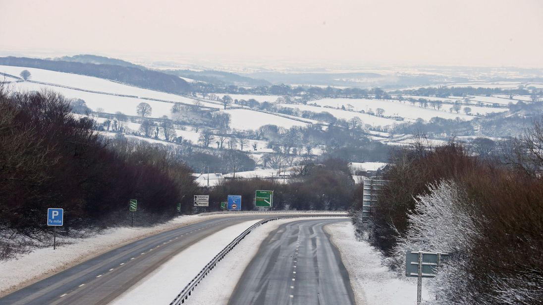 The A30 near Okehampton in Devon