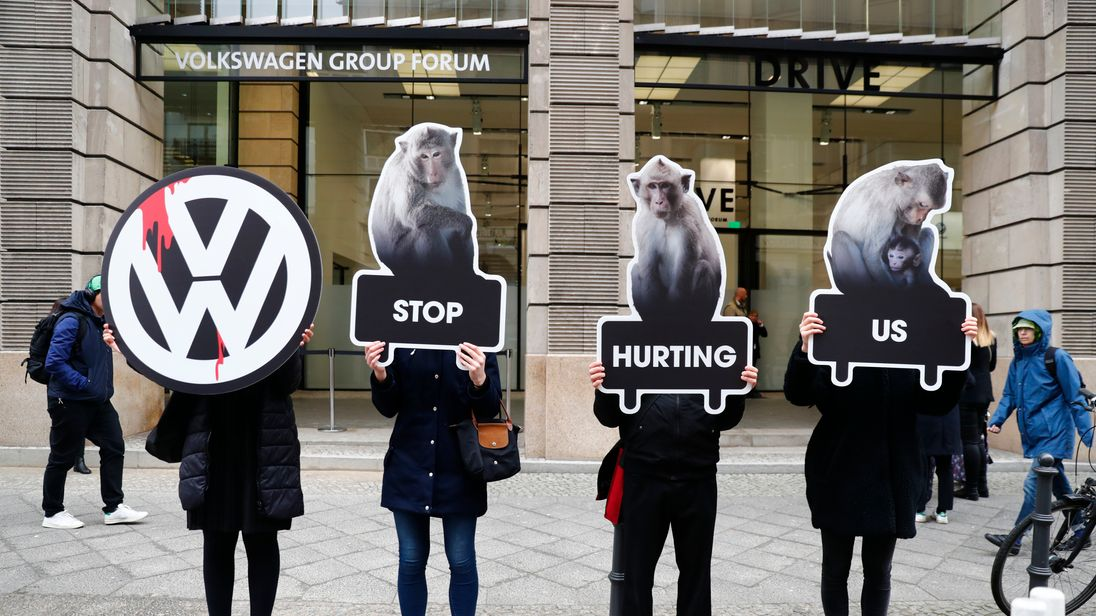 Environmental protesters outside Volkswagen's annual meeting in Berlin, 13 March 2018