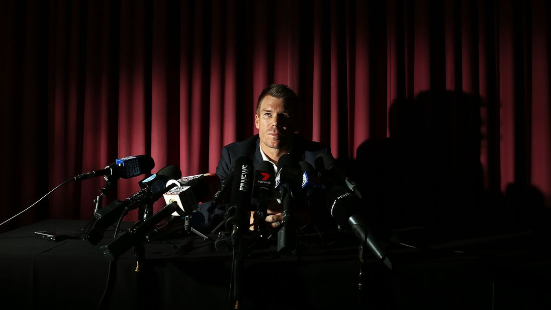 Australian cricketer David Warner speaks to the media during a press conference at Cricket NSW Offices on March 31, 2018 in Sydney, Australia