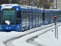 A tramway blocked by snow in Montpellier, southern France