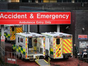 Ambulances sit at the accident and emergency at the Glasgow Royal hospital on January 5, 2018 in Glasgow, Scotland