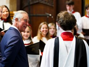 Prince Charles, Prince of Wales visits Holy Trinity Church on April 23, 2016 in Stratford-upon-Avon, England