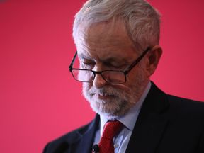 Labour leader, Jeremy Corbyn, launches Labour's local election campaign at Stretford Sports Village on March 22, 2018 in Stretford, England. The Labour leader is calling on voters to use the local elections on May 3rd to signal a 'change in direction'..