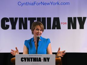 Former Sex and the City star Cynthia Nixon speaks to people at the Bethesda Healing Center in Brooklyn, New York on March 20, 2018 at her first event since announcing that shes running for governor of New York. Cynthia Nixon, the US actress who shot to fame as workaholic lawyer Miranda on 'Sex and the City,' jumped into the race for New York governor March 19, 2018, unveiling a progressive platform championing economic equality and eschewing big business.The 51-year-old declared her candidacy wi